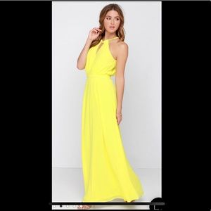 Lulu's Yellow Maxi Halter Dress Small NWOT
